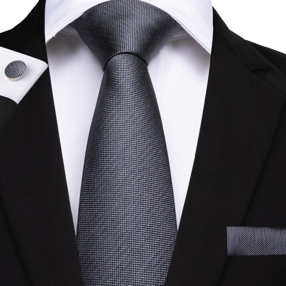 DiBanGu New Luxury Men's Tie Gray Solid Tie Hanky Cufflinks Necktie 100% Silk Tie For Men Business Wedding Tie Set SJT-7142