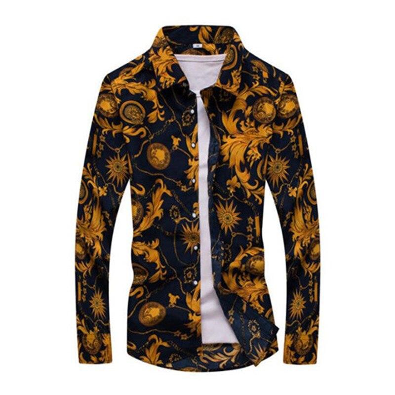 Hot Sale Size: M-5XL / 2019 New Fashion Floral Print Slim Fit Shirts Men's Long Sleeve Casual Dress Shirts 19 Colors