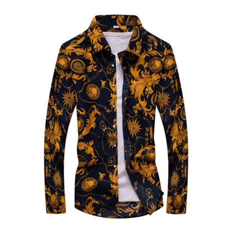 Scorching Sale Dimension: M-5Xl / 2019 New Trend Floral Print Slim Match Shirts Males's Lengthy Sleeve Informal Costume Shirts 19 Colours