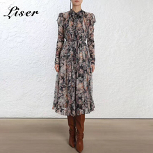 Liser новое летнее женское платье с длинными рукавами и круглым вырезом, платье с принтом из двух частей, сексуальное облегающее элегантное вечернее платье Vestidos
