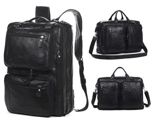 eda32d1305d Multifunctional Genuine Leather Backpack Men Backpack Fashion Male School  Backpack Travel Bag Large Leather rucksack Big Black