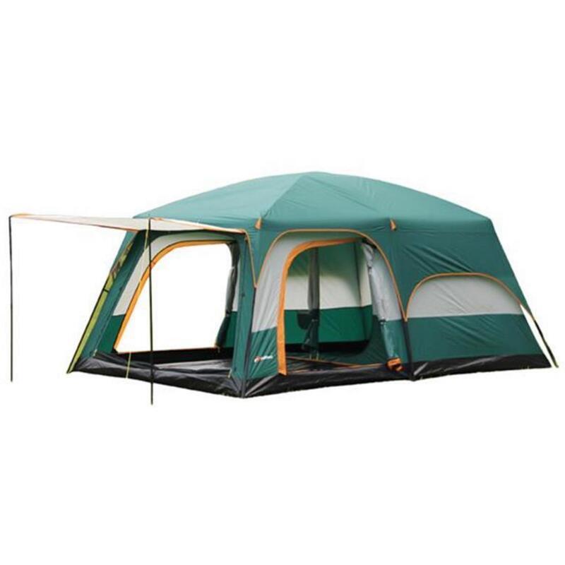 Grande tente de Camping de fête de famille 6/8/10/12 personnes Double couche 2 salons 1 Hall 4 tentes de saison Camping extérieur tente de tourisme
