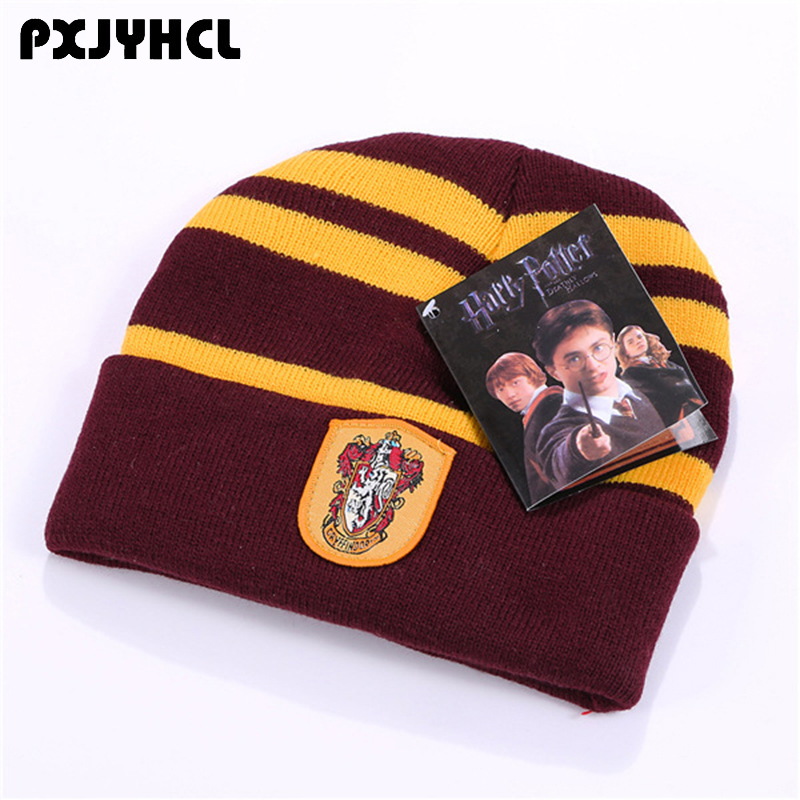 Adult Kid Gryffindor Slytherin Hufflepuff Ravenclaw Beanies Bonnet Caps For Boy Girl Winter Warm Women Anime Cosplay Badge Hat