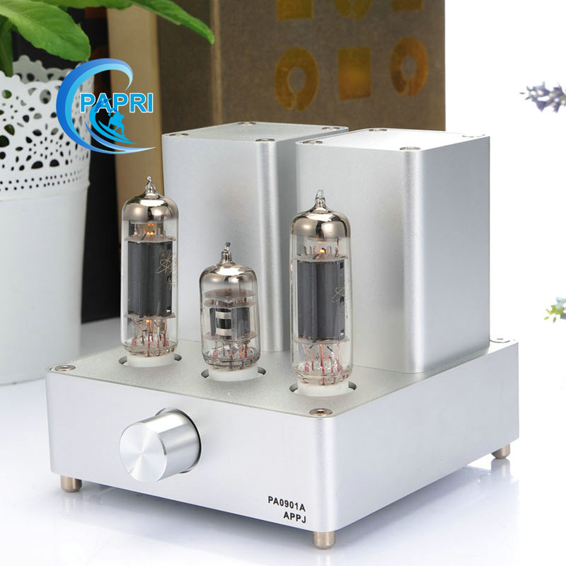 Silver Mini tube Amplifier APPJ PA0901A 6N4+6P14 Tube upgrade to EL84+12AX7B Original Minwatt N3 Smallest Tube Audio Amplifier brand new appj pa1601a vintage mini 6j1 6p4 tube amplifier desktop wifi usb sd card player 3w 3w silver
