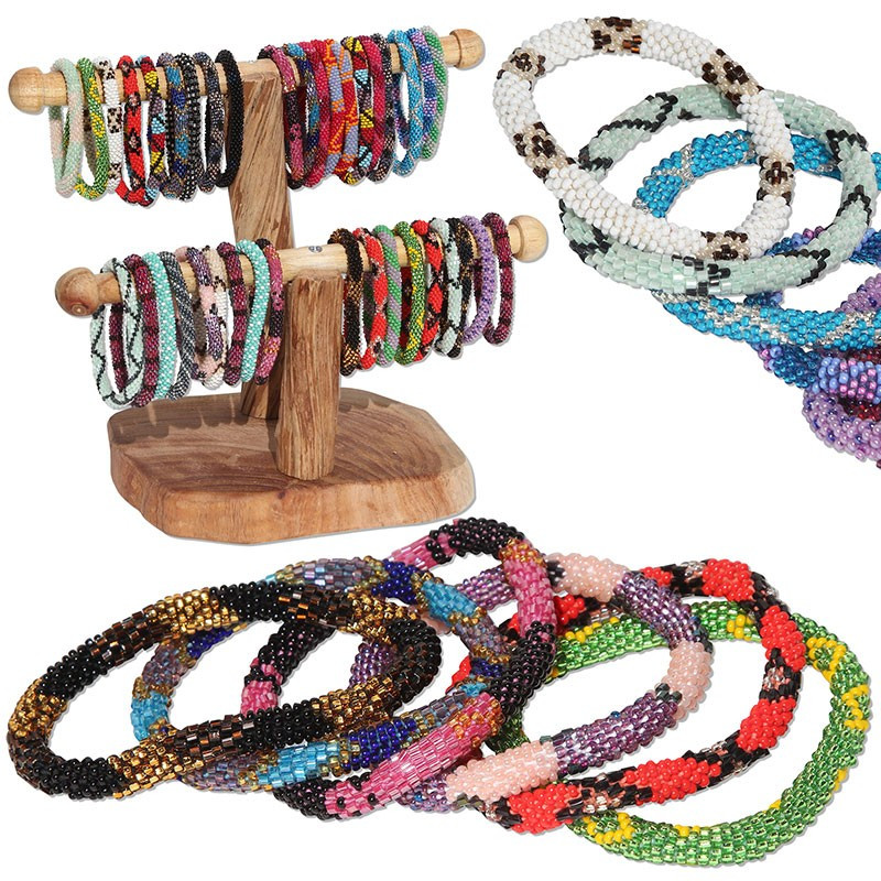 Nepal Handmade Blue Bead Bracelet Hippy Friendship Popular Roll Crochet Woven Seed Beads Red stripes Pattern Bracelets For Women