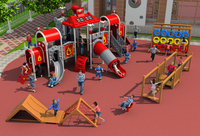 CE,ISO,TUV outdoor playground exported to Romania garden slide fire control type children wooden play equipment YLW OUT171035