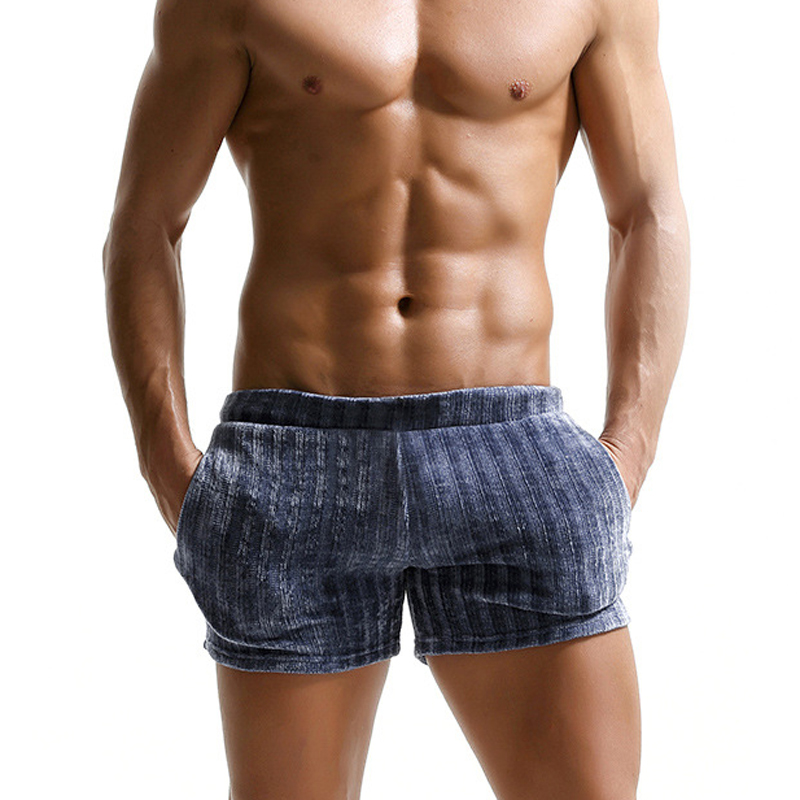 Hot Sale Summer Cozy Shorts Men Sexy Pure Color Sleep Bottoms For Male Homewear Sheer Mens Short Pants