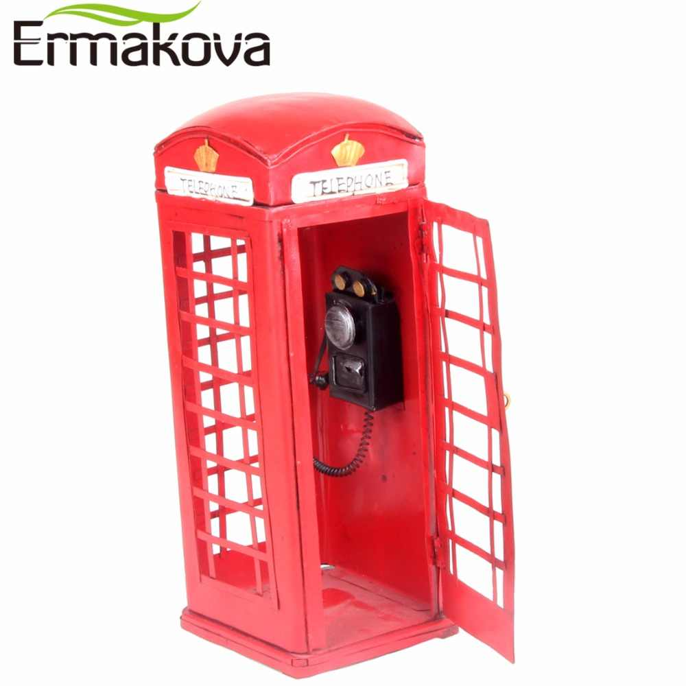 d09b666cd29cc3 ... ERMAKOVA Retro European Street Telephone Booth Model Vintage England  Phone Statue Antique Prop Home Shop Bar ...