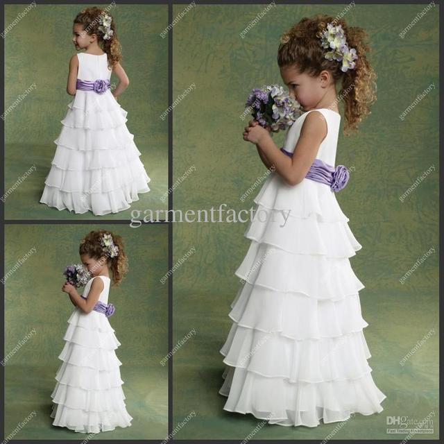 0fe68366fcc Cheap Flower Girl Dresses Chiffon White and Purple Layers Floor-length Kids  Birthday Party Evening