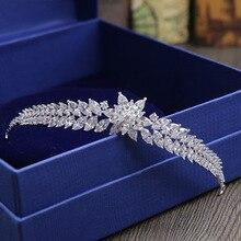 SLBRIDAL Tiara de boda de zirconia cúbica transparente, ajuste Vintage, Reina nupcial, Princesa, desfile, fiesta, corona real, joyería para mujer