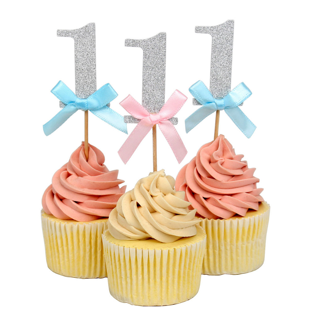 Aliexpress Buy Lincaier 20 Pieces 1st Birthday Cake Cupcake Toppers First Party Decorations Boy Girl 1 Year Silver Anniversary Paper Supplies From