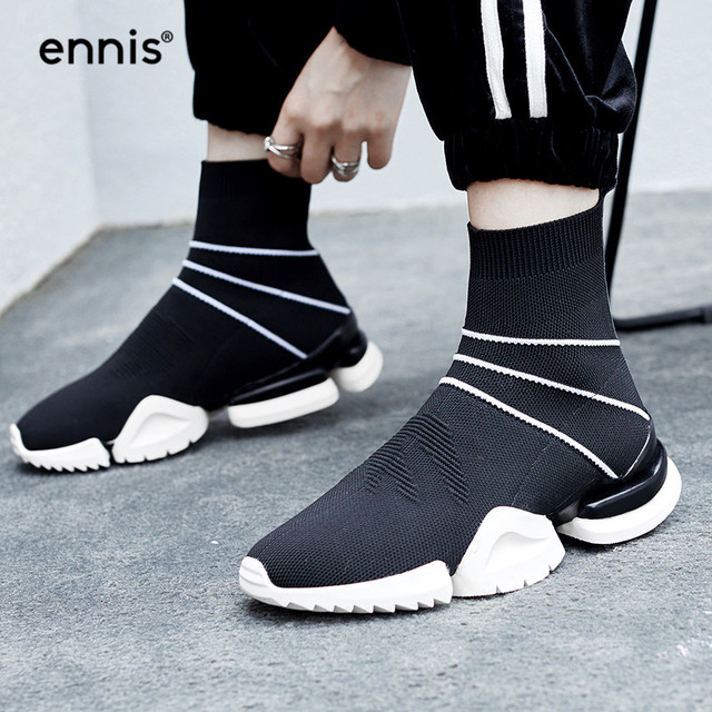 ENNIS 2018 Autumn Stretch Boots Knitted Shoes Women Flat Ankle Boots  Striped Fashion Designer Sneaker Shoes Black Boots A8208 83d7bbc40bad