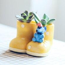 Creative Cartoon Rain Boots Shape Succulents Flowerpot Mini Bonsai Cactus Flower Pot Desktop Garden Supplies Outdoor Home Decor