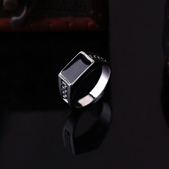 New Good Quality White Gold Color Jewelry Male Ring Fashion Square Black Enamel Men Rings