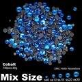 DMC Hotfix Strass SS6 SS10 SS16 SS20 SS30 Cobalto tamanhos Mistos 720 pcs Apoio Cola Flatback Contas de Vidro DIY Jóias fazendo