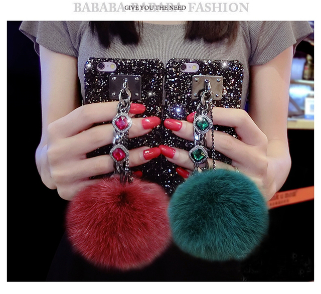 Glitter Hard Case Women Luxury Fuzzy Ball Retro Jewel Stone for Iphone X 8  7 6 Plus SE OPPO R9 R11 A83 A79 A77 A59 A57 A71 Cover 71c1b27e3
