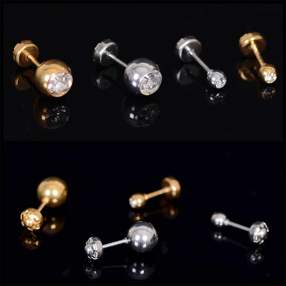 Barbel Warna Emas Stainless Steel Zircon Bola Stud Anting-Anting Perempuan Pria Telinga Tragus Tulang Rawan Kuku Fashion Perhiasan