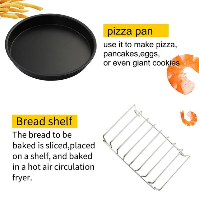 12Pcs Air Fryer Accessories 7 Inch for Air fryer 3.2~6.8QT Baking Basket Pizza Plate Grill Pot Kitchen Cooking Tools for Party