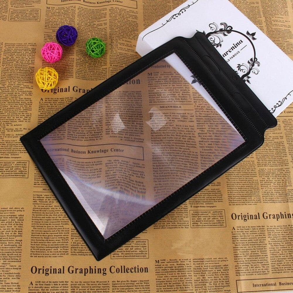 Портативный Размеры ручной 3x большие лупа для чтения A4 полная страница Простыни Карты Книги чтение газеты помощи увеличительного Стекло