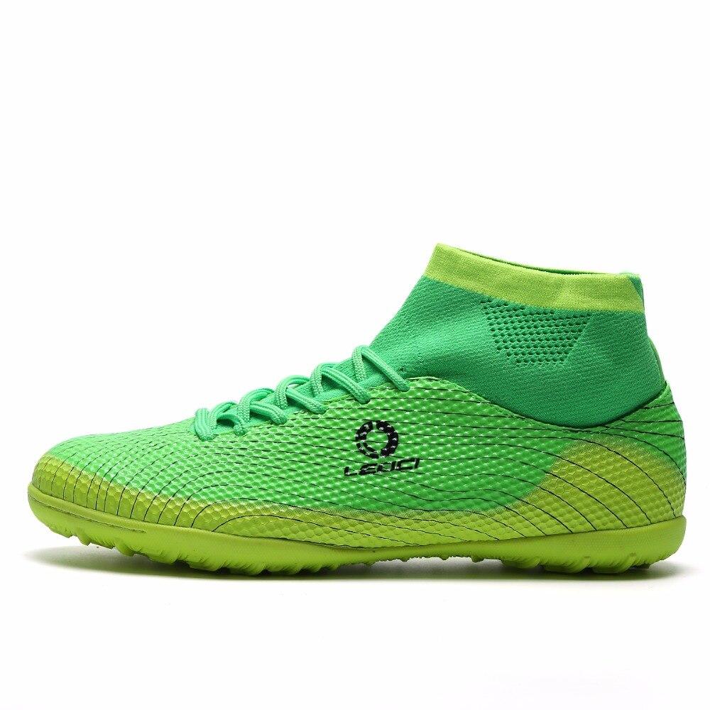 Prix pour Leoci Hommes TF Chaussures De Football de Haut Cheville Football Bottes Plus La Taille Taquet de soccer Bottes Enfants Garçons Football Chaussures Chaussures de Foot S94