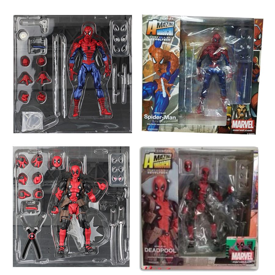 FIGMA X-MAN Series Spiderman Figure NO.001 Revoltech Deadpool With Bracket NO.002 Revoltech Spider Man Action Figures series no 001 revoltech deadpool venom no 003 spider manno 002 004 iron man with bracket pvc action figure collectible model toy