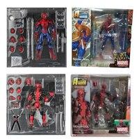 FIGMA X-MAN Series Spiderman Figure NO.001 Revoltech Deadpool With Bracket NO.002 Revoltech Spider Man Action Figures