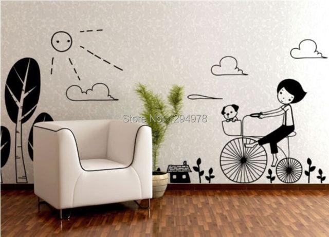 Nieuwe collectie zwart leuke fiets meisje hond muurstickers kids