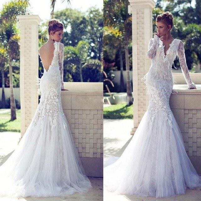 Mode boho blanc sirène robes de mariée 2016 custom made dos nu manches  longues en dentelle femmes robe de mariée pour la fête de mariage dans Robes  De