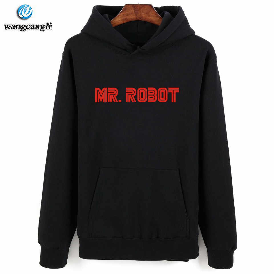 69991532b80a Detail Feedback Questions about 2018 hot Mr Robot Gray Black Hooded ...