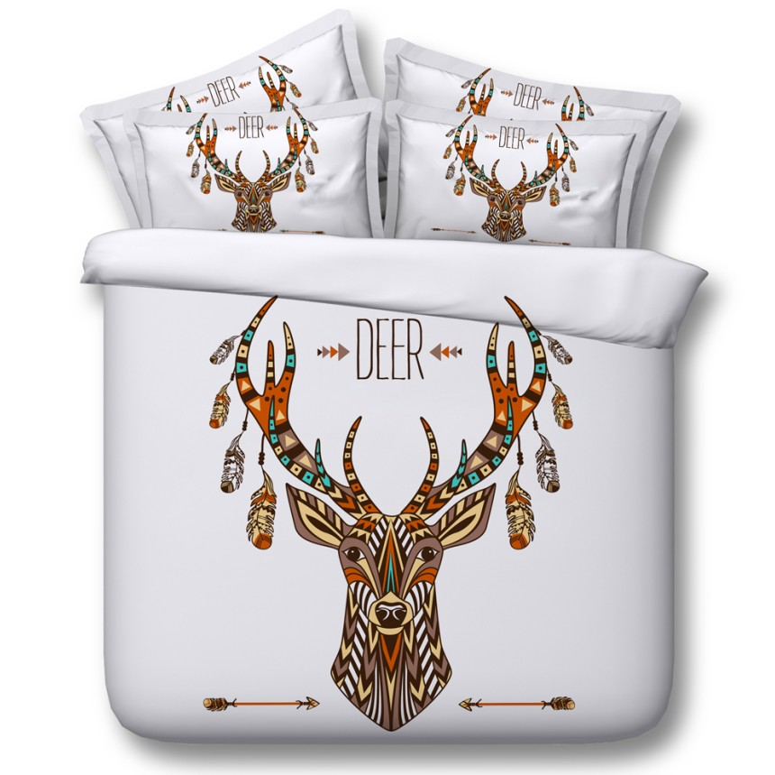 Рождественский Комплект белья с принтом оленя, пододеяльники, простыни, стеганое покрывало, постельное белье, размер 5 шт.