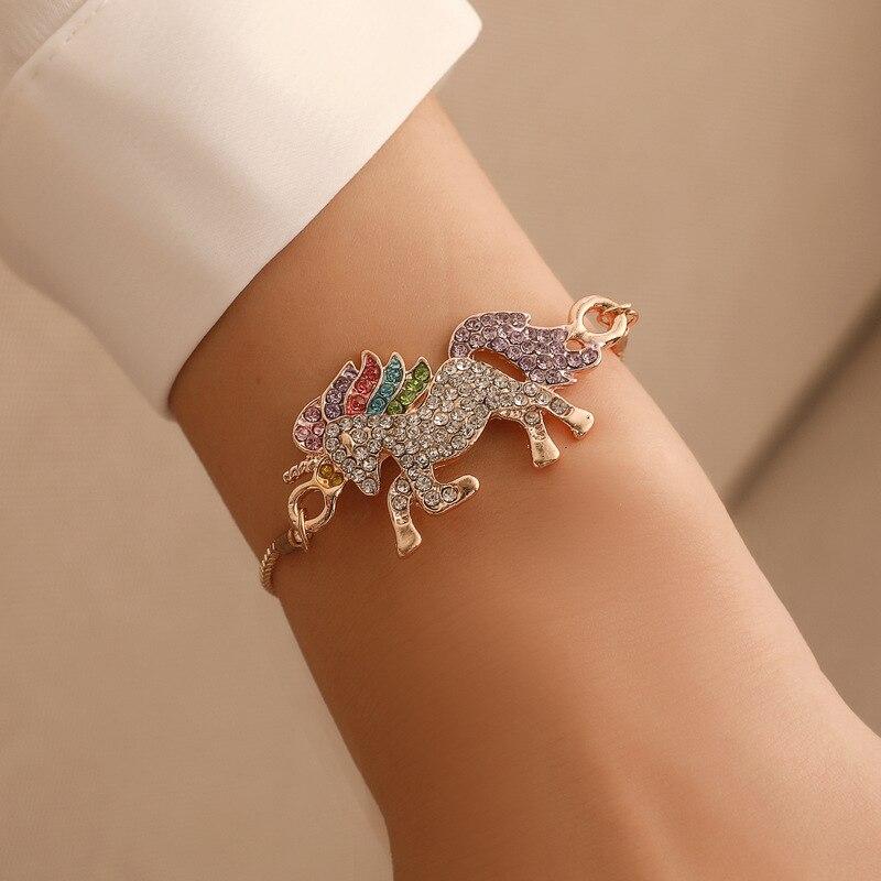 Trendy Gifts High Quality Animal Unicorn Rhinestone Bracelet Girls Rainbow Women Accessories For