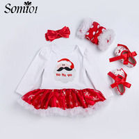 New Baby Christmas Jumpsuit Dress 4 Pcs Sets Clothes 2017 Autumn Long Sleeve Birthday Gift Clothes