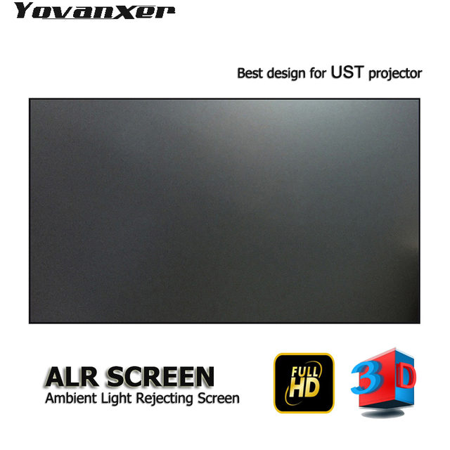 "ALR Ambient Light Rejecting  Projector Screen 100"" Ultra thin border for JmGO NEC EPSON UST 3D 4K UST projectors"
