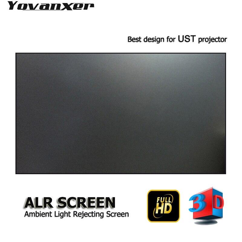 """Lumière ambiante de première classe rejetant l'écran de projecteur ALR 100 """"bordure Ultra-mince spécialisée pour le projecteur JmGO NEC EPSON UST 3D 4K"""