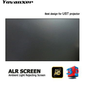 "Top class Ambient Light Rejecting ALR Projector Screen 100"" Ultra-thin border Specialize for JmGO NEC EPSON UST 3D 4K projector"