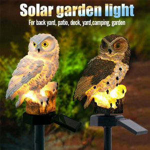2 Colours Outdoor Garden Sculptures Lamp Owl Shape for Garden Decoration Waterproof Bird Resin Yard Garden Decor Sculptures XNC(China)