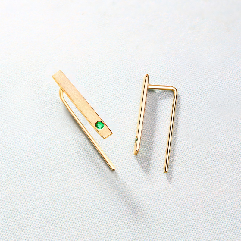 JXXGS bijoux mode 14 K or naturel émeraude boucles d'oreilles Bar boucles d'oreilles pour les femmes - 3
