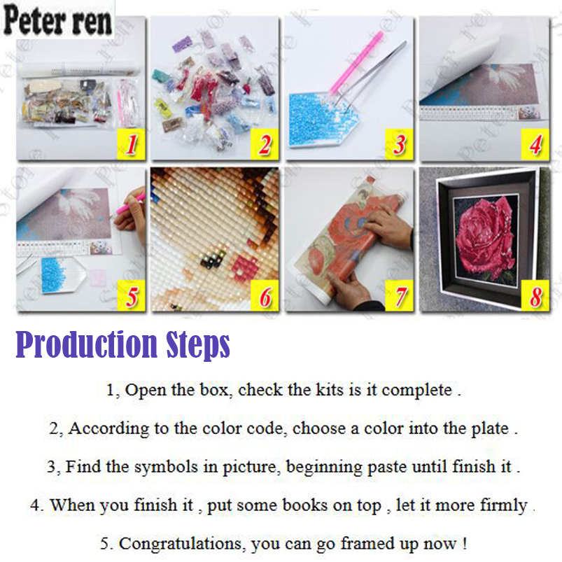 Peter ren Diamond painting Full square rhinestones Embroidery Crafts 3d Diamond mosaic icon Picture by numbers beauty Two tigers