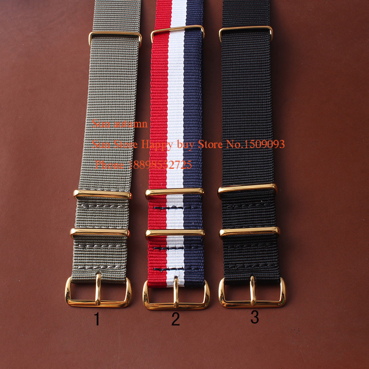Nylon watchbands US Military Black G10 20mm 22MM Gold Rings Nylon Fabric Watch Straps Bands Accessories 1pcs canvas fabric nylon watch straps bands black army green brown gray striped replace wristwatch bracelet width 20mm
