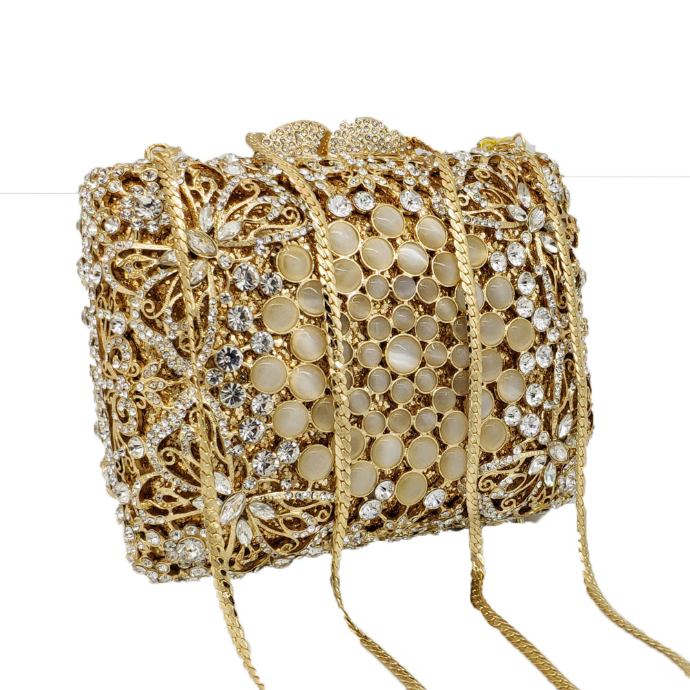 Boutique De FGG Dazzling Hollow Out Butterfly Women Crystal Clutch Bag Evening Wedding Handbags and Purses Bridal Party Bag