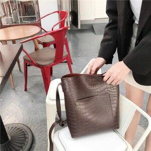 Image 2 - Vintage Fashion Female Tote bag New Quality PU Leather Womens Designer Handbag Alligator Bucket bag Shoulder Messenger Bag