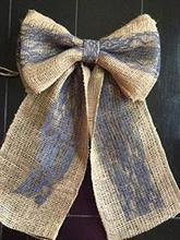 Burlap and Lace  Chair Sashes Hessian Jute Cover Bows Navy Pew Bow Decor Wedding Venue Ribbon Seating Reception