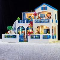 Подарки новый бренд DIY кукольные домики Деревянный Кукольный дом унисекс 3d кукольная мебель детские игрушки, мебель миниатюрный комплект р
