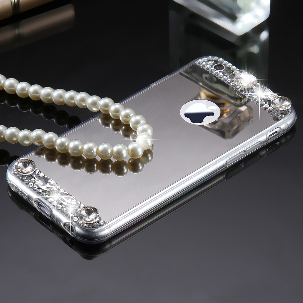 Bling Glitter Diamond Girly Case For iPhone 8 7 6 6s Plus Plating Mirror Cases For iPhone 5 5s SE X 10 Ultra Slim Soft TPU Capa
