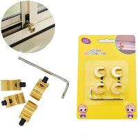 Free Shipping 6 Pcs Lot Adjustable Brass Baby Safety Sliding Window Lock For Children Kids