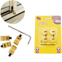 Free Shipping 6 Pcs Lot Adjustable Brass Baby Safety Sliding Window Lock For Children Kids