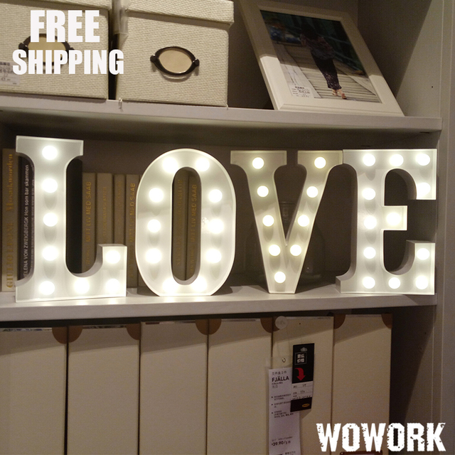 Customize 12inch Battery Letters Light Love Letter Lights Wedding Alphabet Living Room Decorative Up