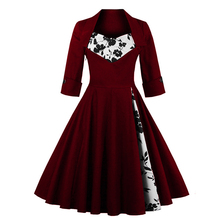 US Shipping Women Plus Size Autumn Dress Long Sleeves Vintage Red Dress Patchwork Dress Floral Retro Casual Party Swing Vestidos
