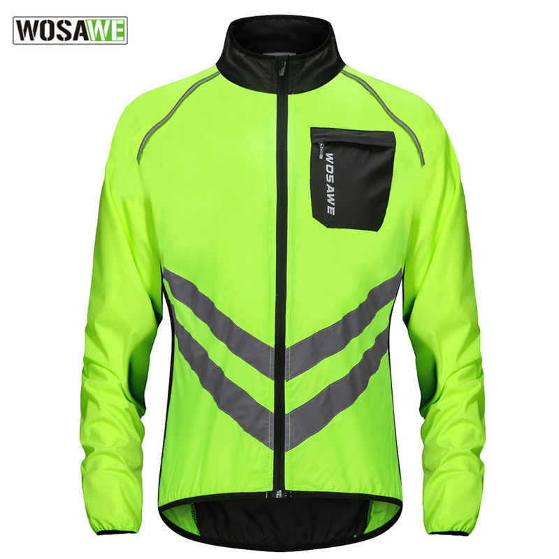 Reflective Jacket Windbreaker Water resistant Bike Riding Coat Long Sleeve Top