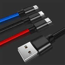 Color 3in1 USB Cable for Mobile Phone Micro Type C Charger iPhone Samsung 6 Charging Cord